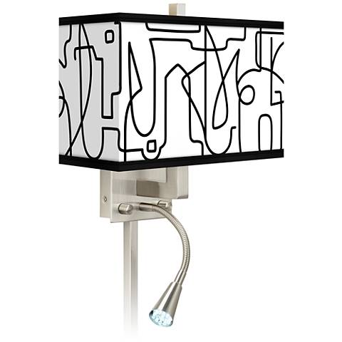 Scribble World Giclee Glow LED Reading Light Plug-In Sconce