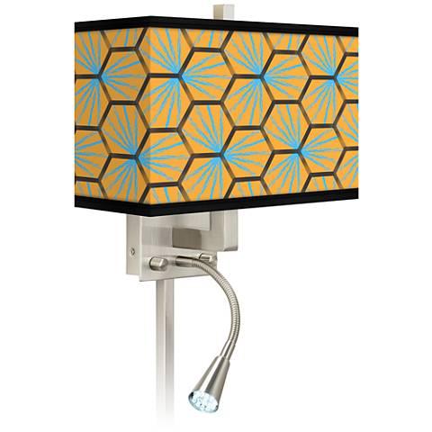 Hexagon Starburst Giclee LED Reading Light Plug-In Sconce