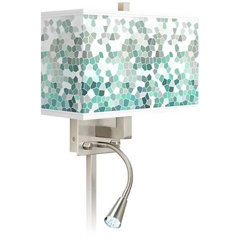 Aqua Mosaic Giclee Glow LED Reading Light Plug-In Sconce