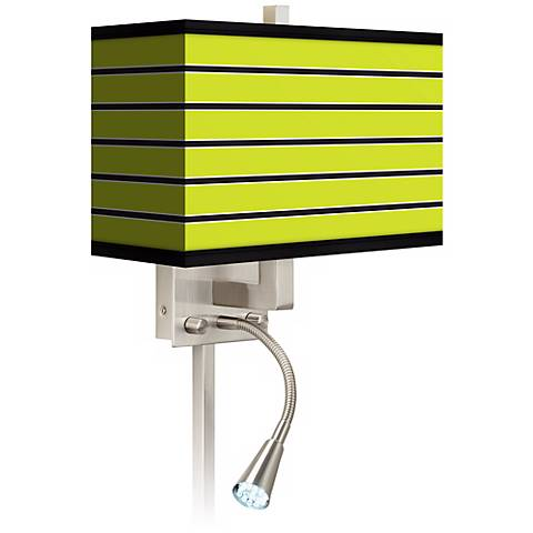 Led Wall Sconce Plug In : Bold Lime Green Stripe LED Reading Light Plug-In Sconce - #N8671-P7085 Lamps Plus