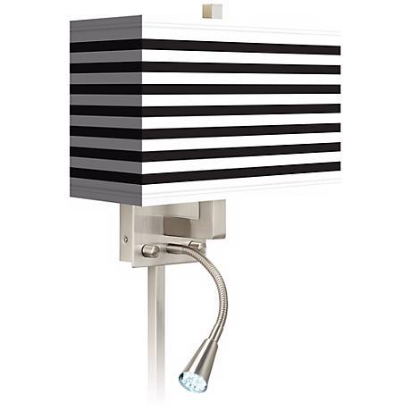 Black Horizontal Stripe LED Reading Light Plug-In Sconce