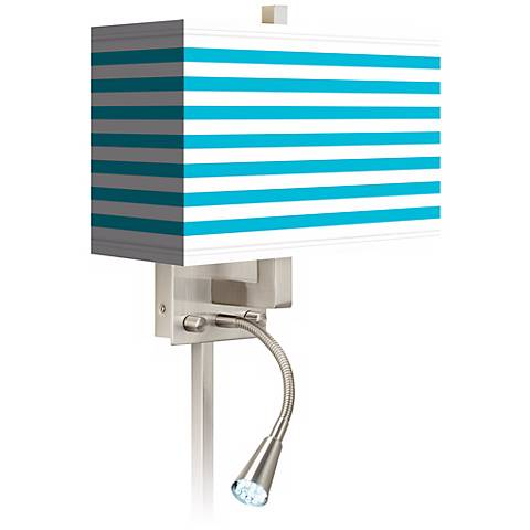 Aqua Horizontal Stripe LED Reading Light Plug-In Sconce