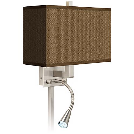 Khaki Giclee LED Reading Light Plug-In Sconce - #N8671-P7189 Lamps Plus
