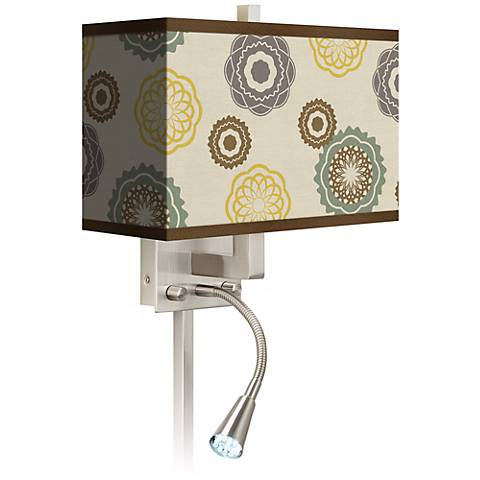 Ornaments Linen Giclee LED Reading Light Plug-In Sconce