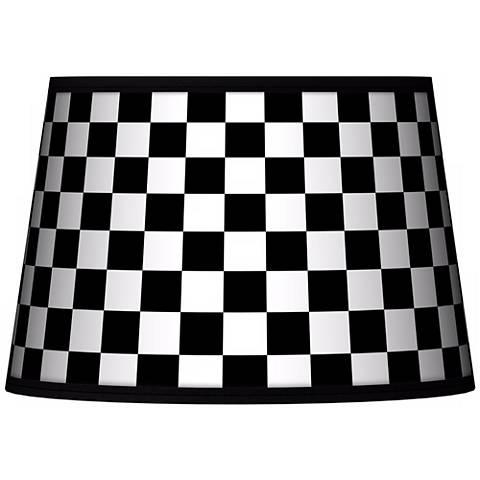 Checkered Black Tapered Lamp Shade 13x16x10.5 (Spider)