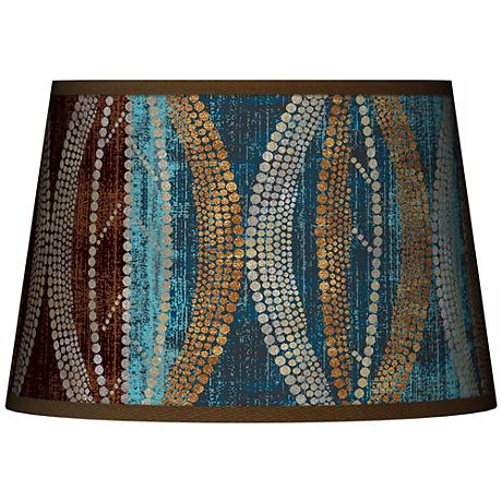 Stacy Garcia Pearl Leaf Peacock Tapered Shade 13x16x10.5 (Spider)