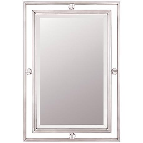 """Quoizel Downtown Collection 32"""" High Nickel Wall Mirror"""