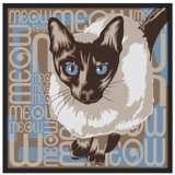"Lunchtime Cat 37"" Square Black Giclee Wall Art"