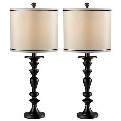 Set of 2 Bobbin Dark Graphite Table Lamps