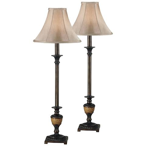 Set of 2 Emily Crackle Bronze Buffet Lamps