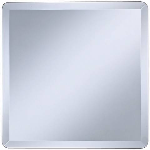 """Square Frameless 18"""" Wide Beveled Wall Mirror"""