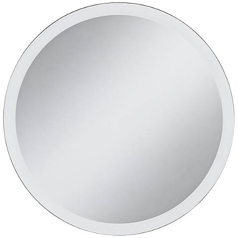 "Galvin Frameless Beveled 30"" Round Wall Mirror"