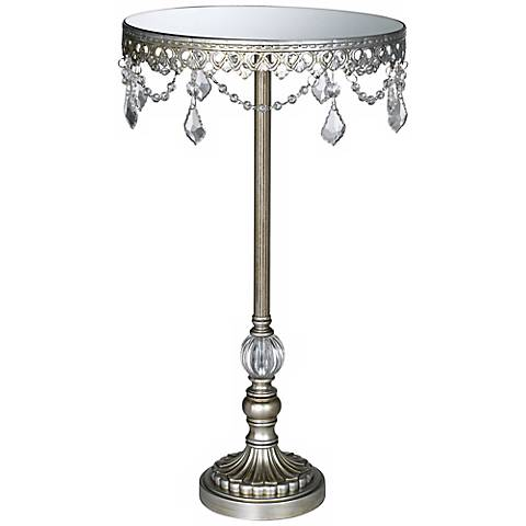 "Silver Crystal Beaded Mirror-Top 10"" Round Cake Stand"