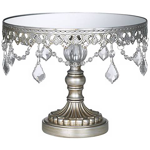 "Antique Silver Beaded Mirror-Top 10"" Round Cake Stand"