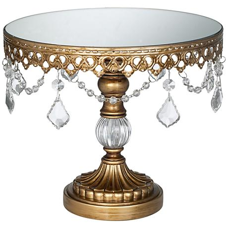 "Antique Gold Crystal Beaded Mirror-Top 10"" Round Cake Stand"