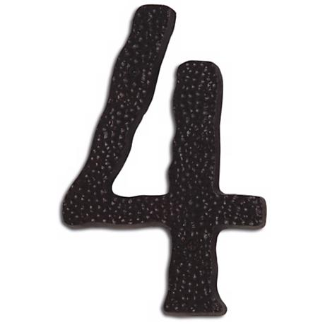Hammered Aged Bronze Finish House Number 4