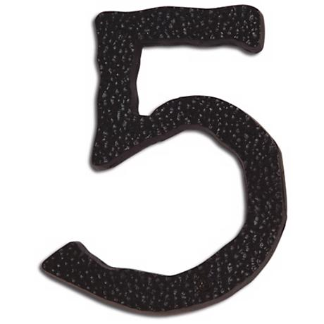 Hammered Aged Bronze Finish House Number 5