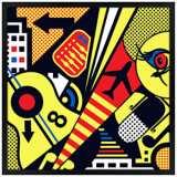 "Mixup 2000 Citrus 26"" Square Black Giclee Wall Art"