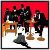 """Martini Lunch Red 26"""" Square Black Giclee Wall Art"""