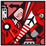 "Mixup 2000 Red 37"" Square Black Giclee Wall Art"