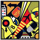 "Mixup 2000 Citrus 37"" Square Black Giclee Wall Art"