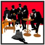 """Martini Lunch Red 37"""" Square Black Giclee Wall Art"""