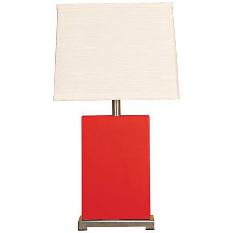 Splash Collection Red Ceramic Rectangular Table Lamp