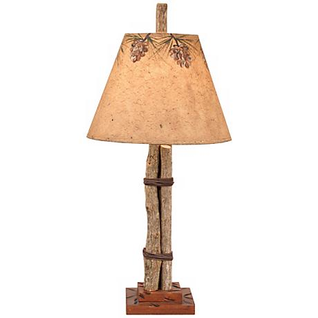 Twig and Leather Accent Lamp