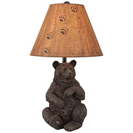 Hand-Crafted Sitting Bear Table Lamp with Parchment Shade