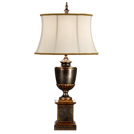 Wildwood Worn Green and Gold Urn Table Lamp