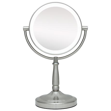"""Cordless LED Lighted Pivoting 7"""" Wide Vanity Mirror"""