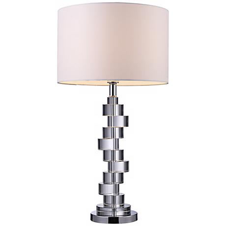 camdale crystal and chrome finish cylinders table lamp. Black Bedroom Furniture Sets. Home Design Ideas