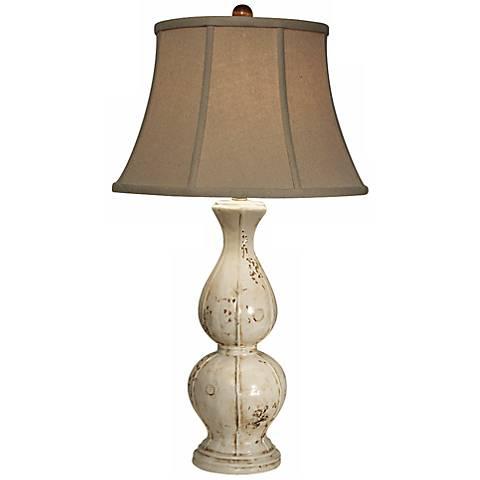 Natural Light Briana Bianco Off White Ceramic Table Lamp