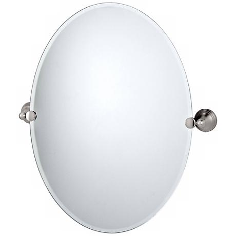 Gatco Charlotte Satin Nickel Finish Oval Tilt Wall Mirror