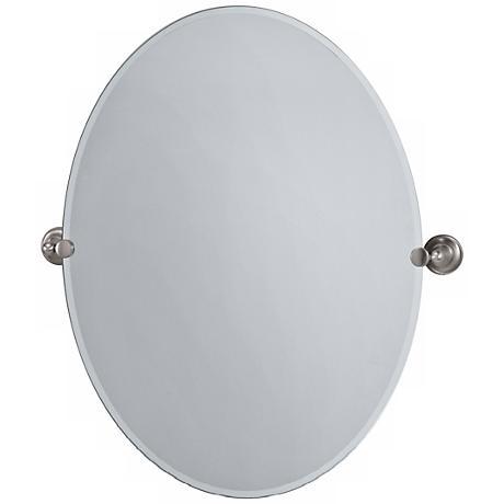 "Gatco Tiara Satin Nickel 32"" High Frameless Oval Wall Mirror"