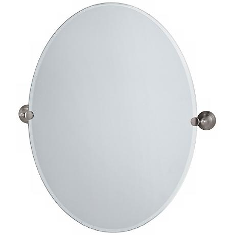 "Gatco Satin Nickel Charlotte 32"" High Large Oval Mirror"