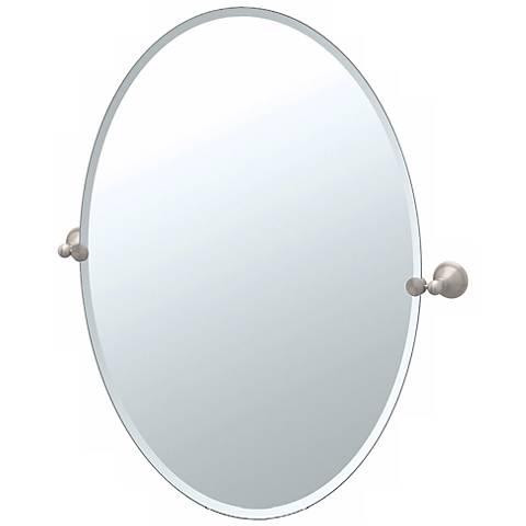 "Gatco Laurel Avenue Nickel 26 1/2"" H Oval Tilt Wall Mirror"