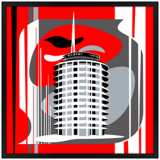 "Hollywood Records Red 26"" Square Black Giclee Wall Art"
