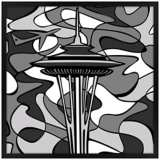 "Space Age Night 31"" Square Black Giclee Wall Art"