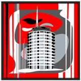 "Hollywood Records Red 37"" Square Black Giclee Wall Art"
