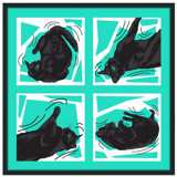 "Kinetic Cat Teal 37"" Square Black Giclee Wall Art"