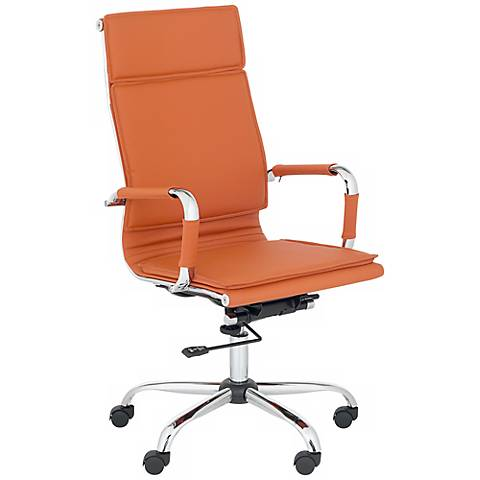 Cameron Terra Cotta Faux Leather Highback Desk Chair