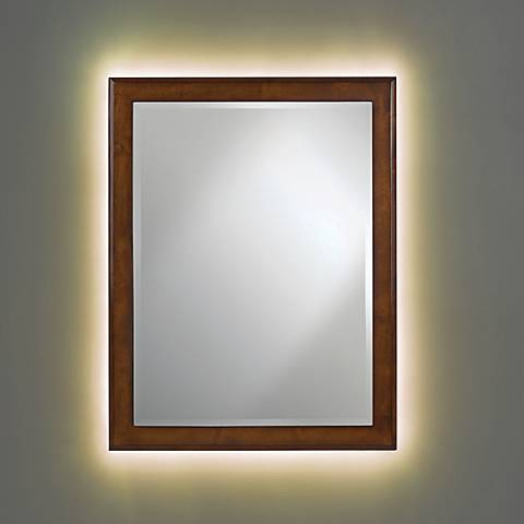 Vernon Cherry Wood Mirror with LED Light Kit