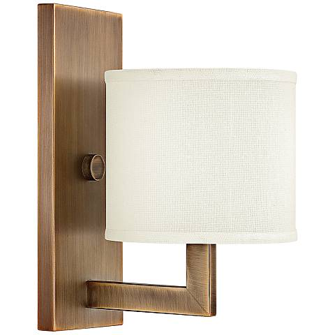 "Hinkley Hampton 12"" High Small Brushed Bronze Wall Sconce"