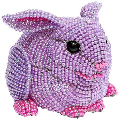 "Beadworx Bunny 6 1/2"" High Hand-Crafted Beaded Night Light"