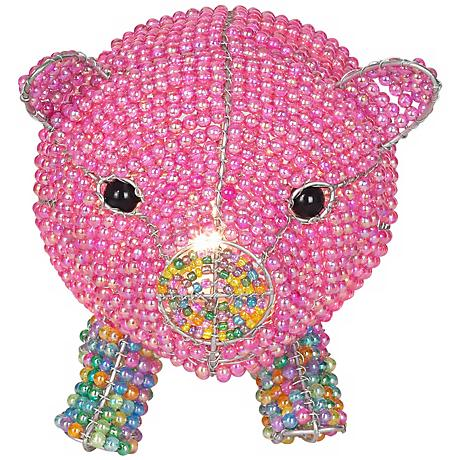 Beadworx Pink Pig Hand-Crafted Beaded Night Light