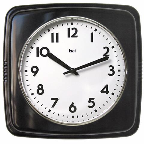 """Retro Black 9 1/2"""" Square Wall Clock"""