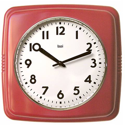 """Retro Red 9 1/2"""" Square Wall Clock"""