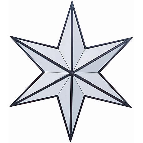 "Baxter Aged Black 31 1/2"" Wide Star Shape Wall Mirror"