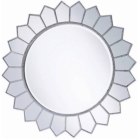 """Aged Silver Sunflower 36"""" Round Wall Mirror"""